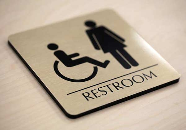 Brushed Metal Restroom Signs, Premium Quality