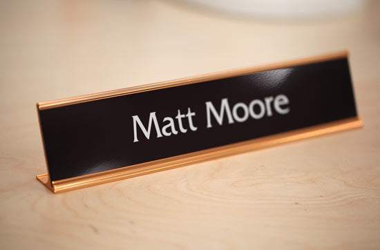 Custom Desk Name Plate with Rose Gold Frame