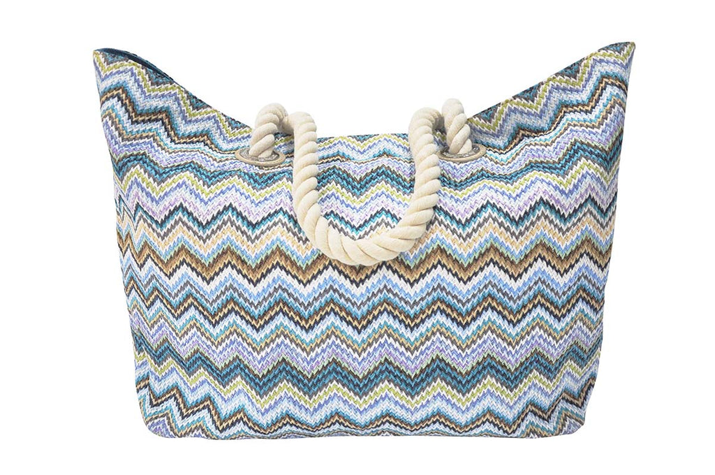 beach bag with blue and teal zigzag pattern