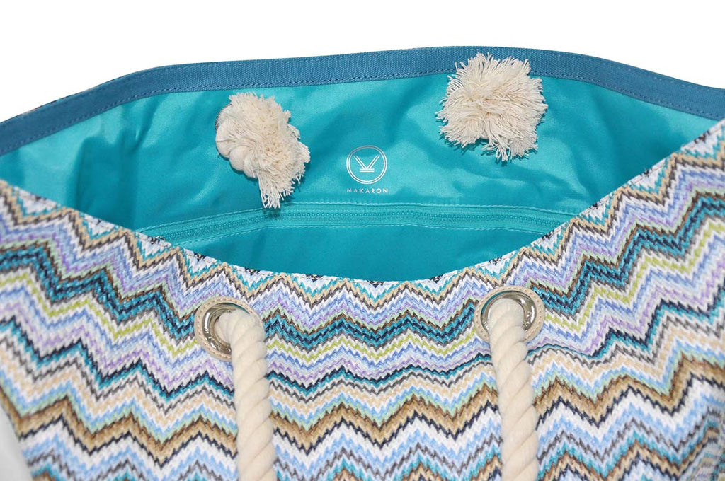 beach bag with blue teal water-resistant lining