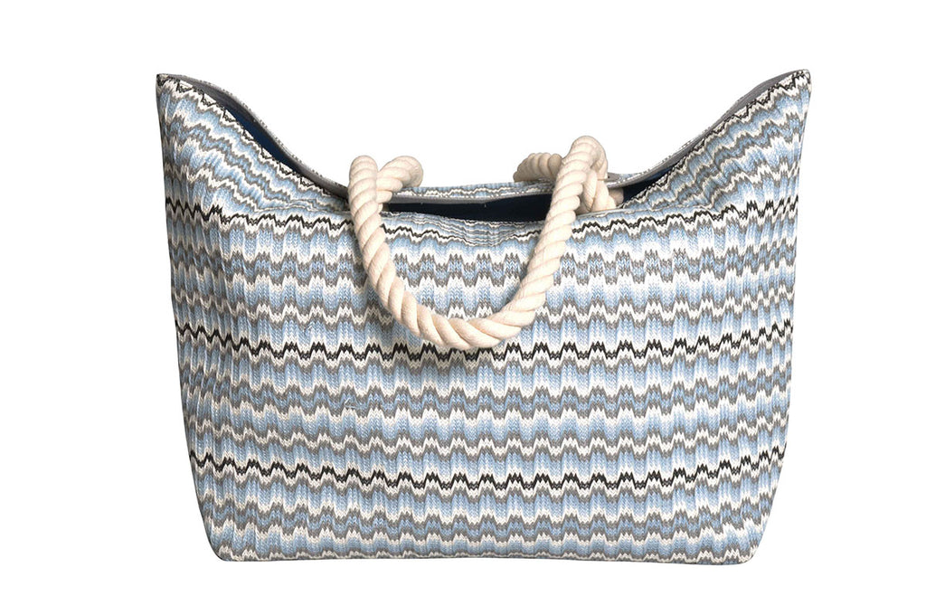 beach bag with grey, white and black waves pattern