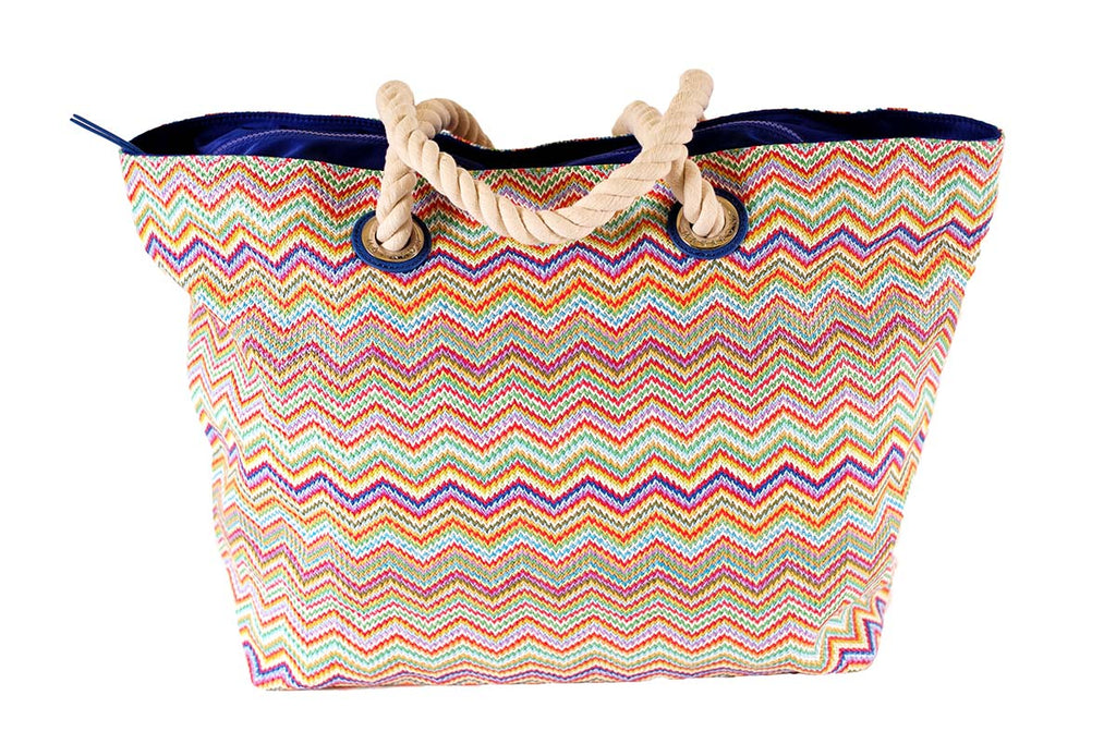 nylon beach bag in rainbow shades, zip closure