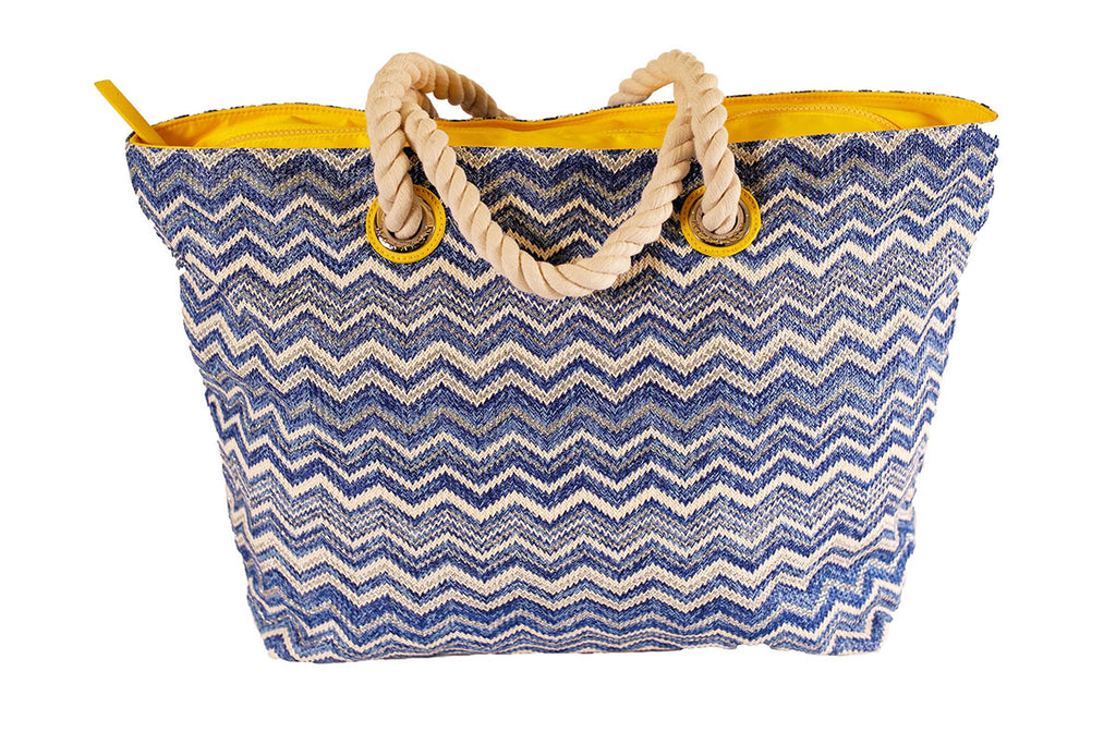 blue and silver zigzag tote bag with cotton handles and zip closure