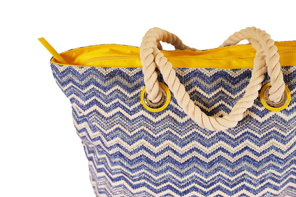 blue tote with zipper, cords handles