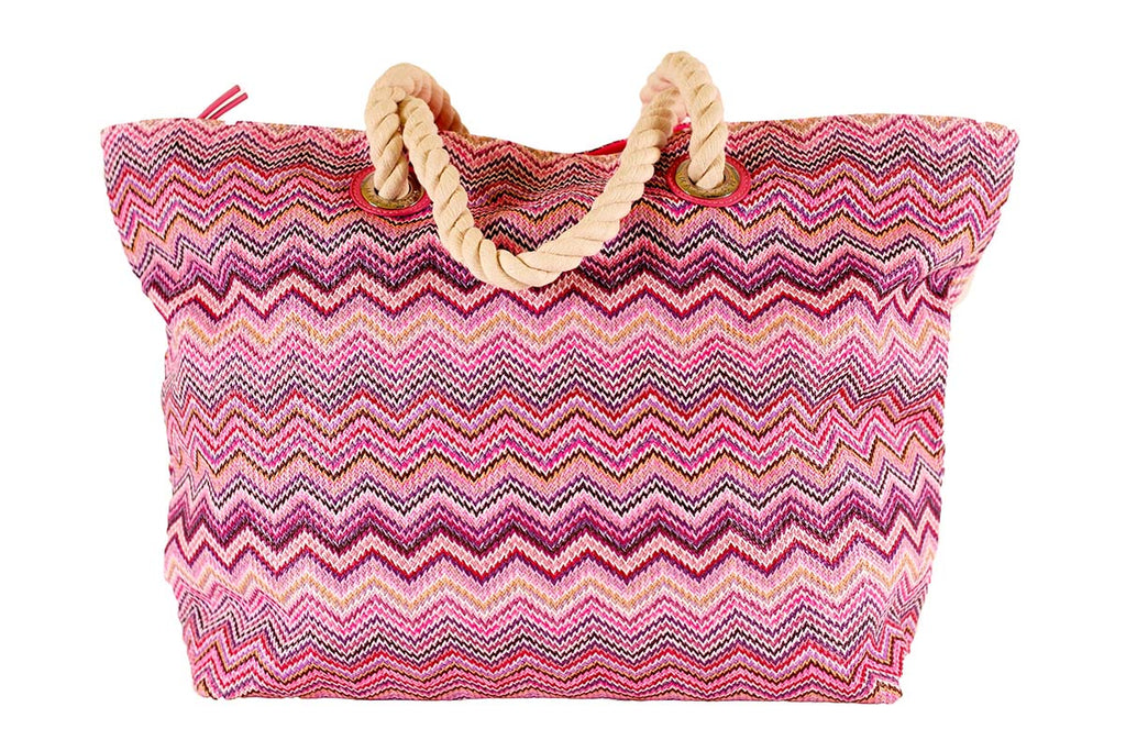 beach bag made of pink zigzag nylon