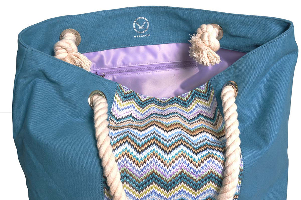 beach tote with waterproof lining and zipper inside pocket