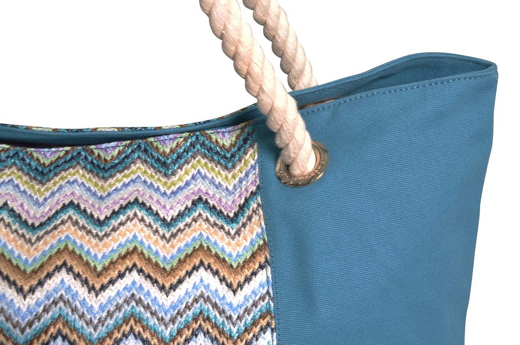 Large blue beach bag with cotton handles