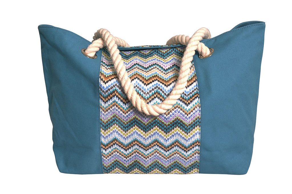 beach bag made of nylon and canvas, with water-resistant lining