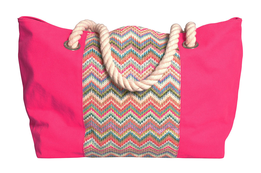 Beach bag with green and pink zigzag mixed with pink canvas
