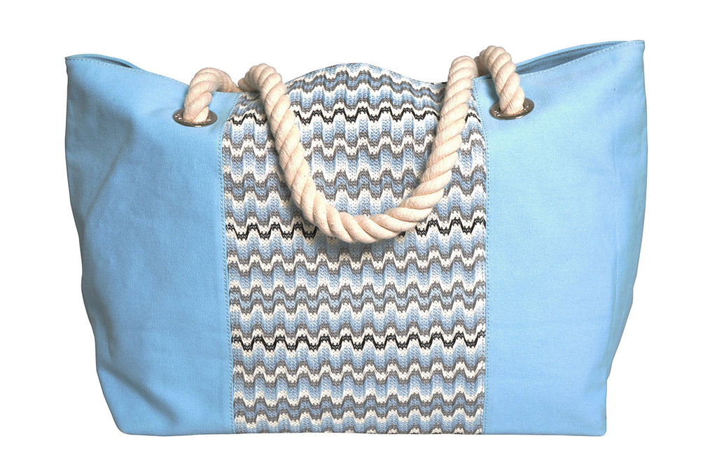 beach bag with blue and and grey waves with light blue canvas