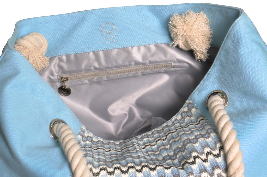 blue beach tote with waterproof grey lining