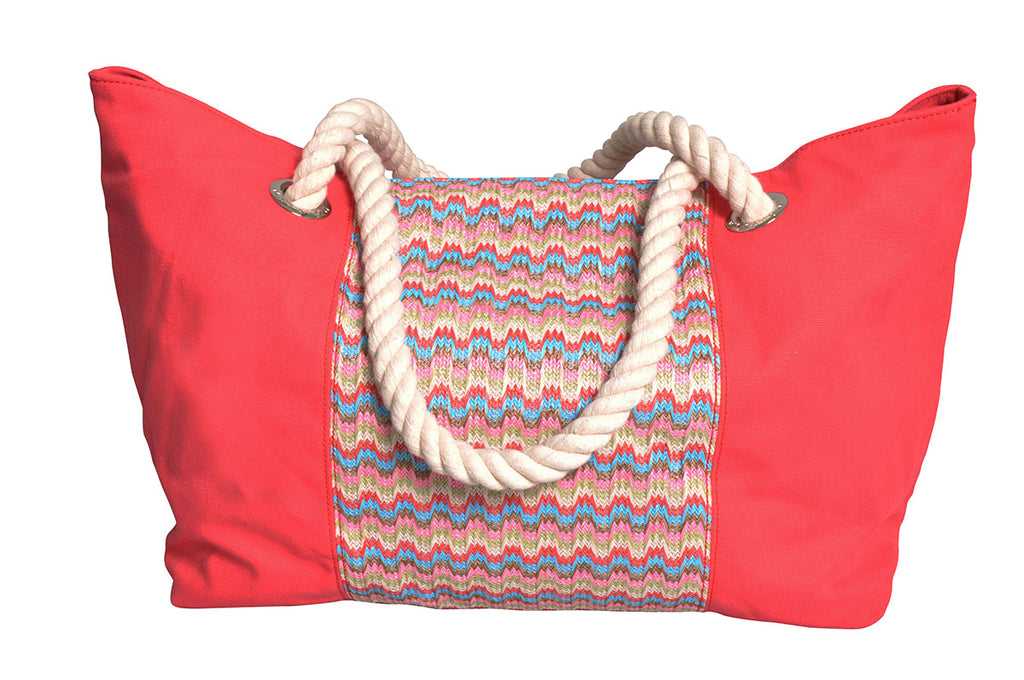 Beach bag with blue, beige and red waves with raspberry red canvas