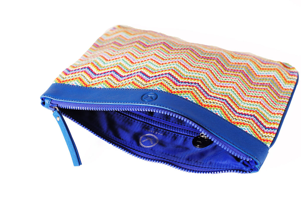 cosmetic bag with blue water-resistant lining