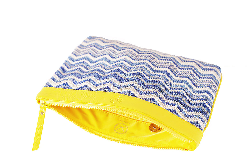 nylon cosmetic bag with yellow waterproof lining