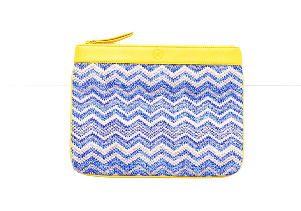 Saint Tropez bikini pouch with blue and silver zigzag