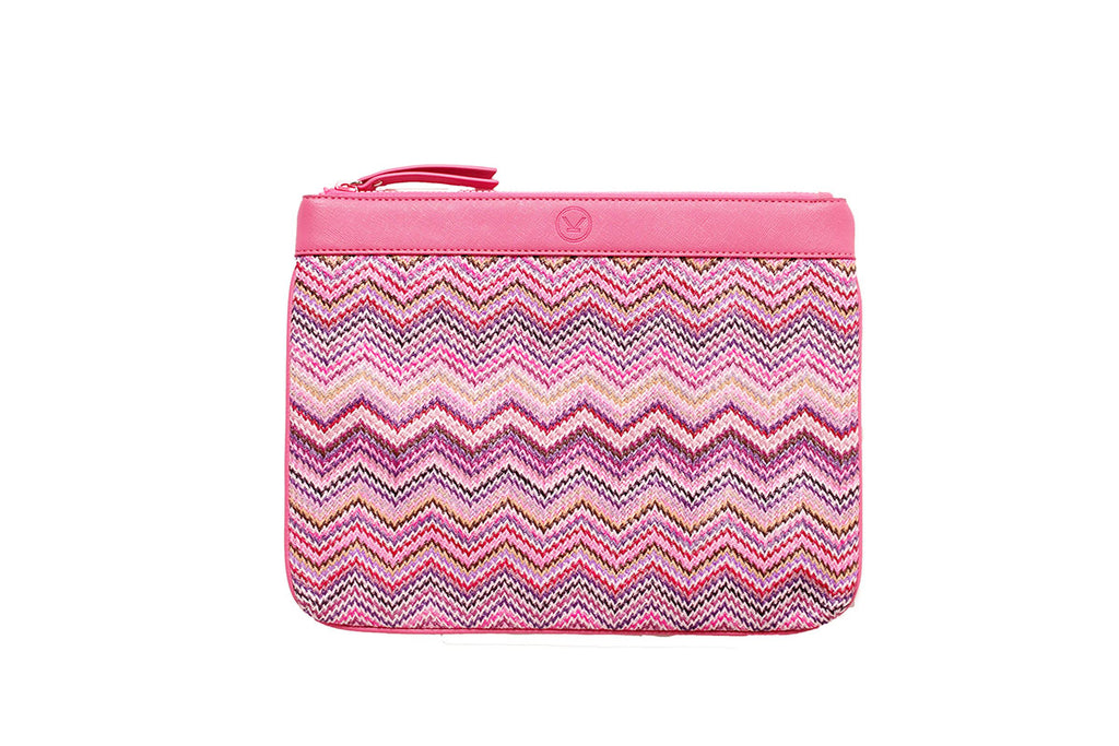 pink cosmetic bag made of nylon and faux leather
