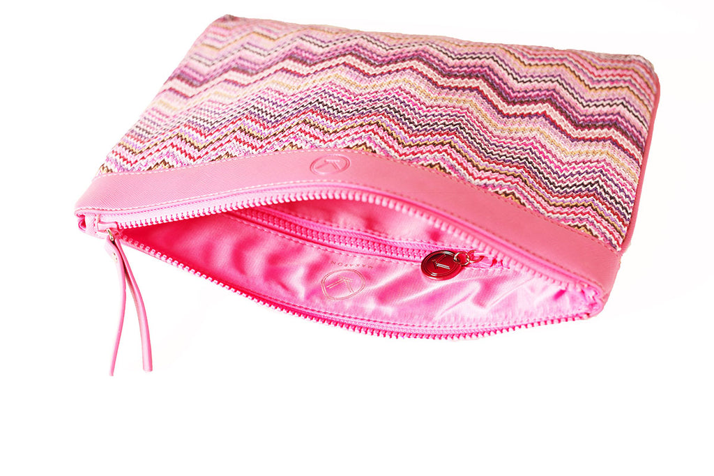 Pink clutch features a waterproof poly lining