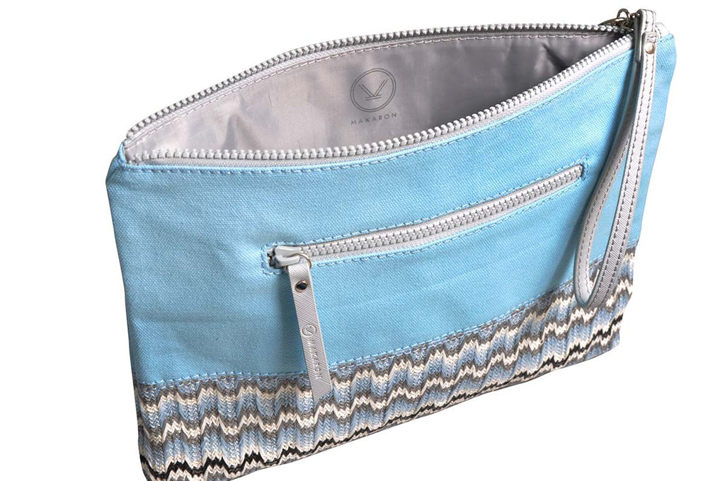 light blue pouch with grey waterproof lining