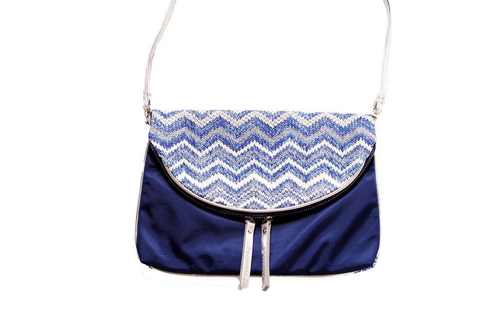 flat crossbody bag with blue zigzag design by MAKARON