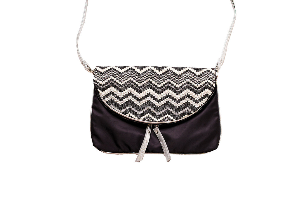 Black crossbody bag for women, made of nylon