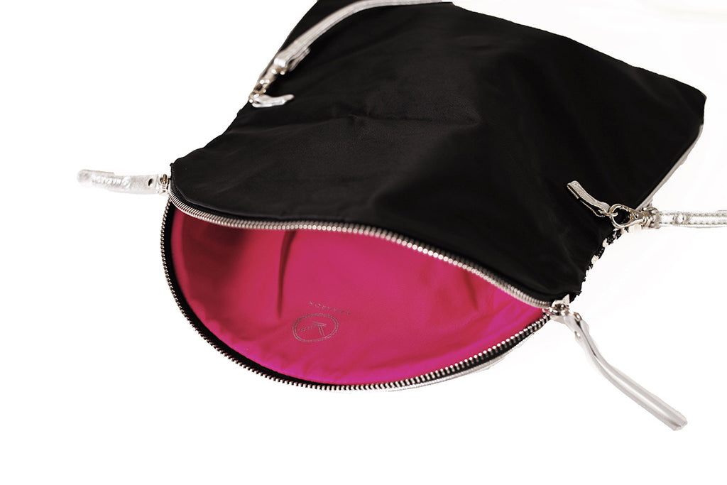 black crossbody bag with pink lining