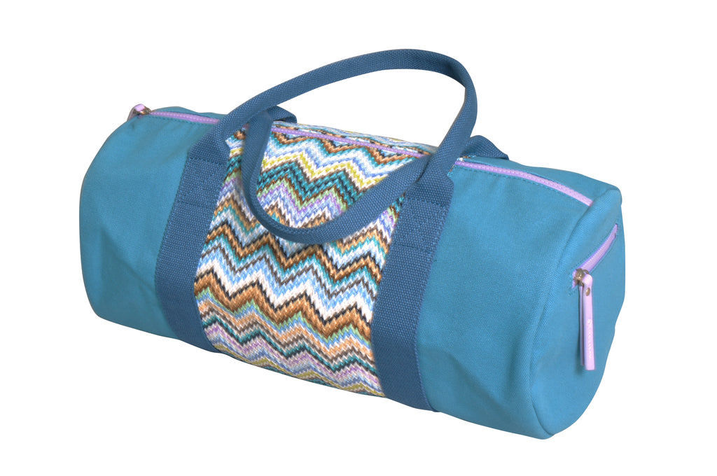 duffle bag with blue, teal & purple zigzag design