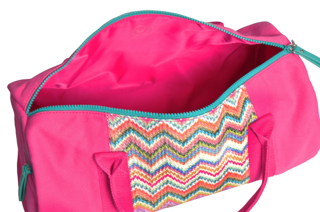 pink canvas duffle bag with pink lining