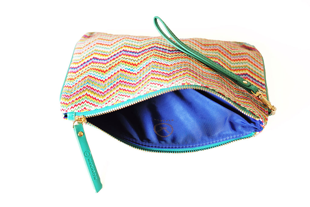 MAKARON's pouch in rainbow shades with blue lining
