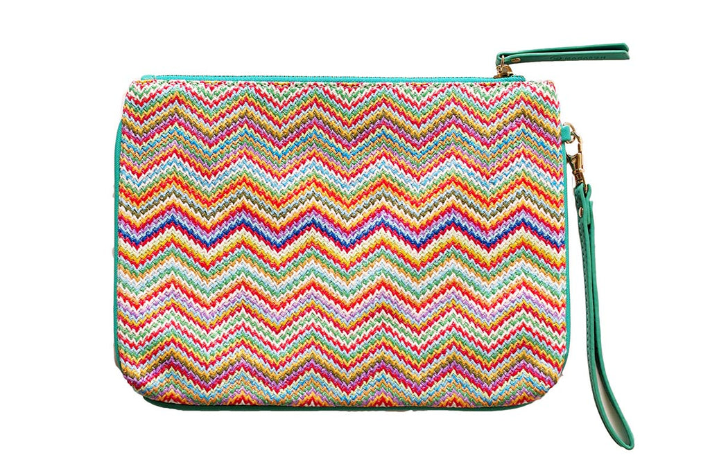 MAKARON's pouch in rainbow shades with green strap