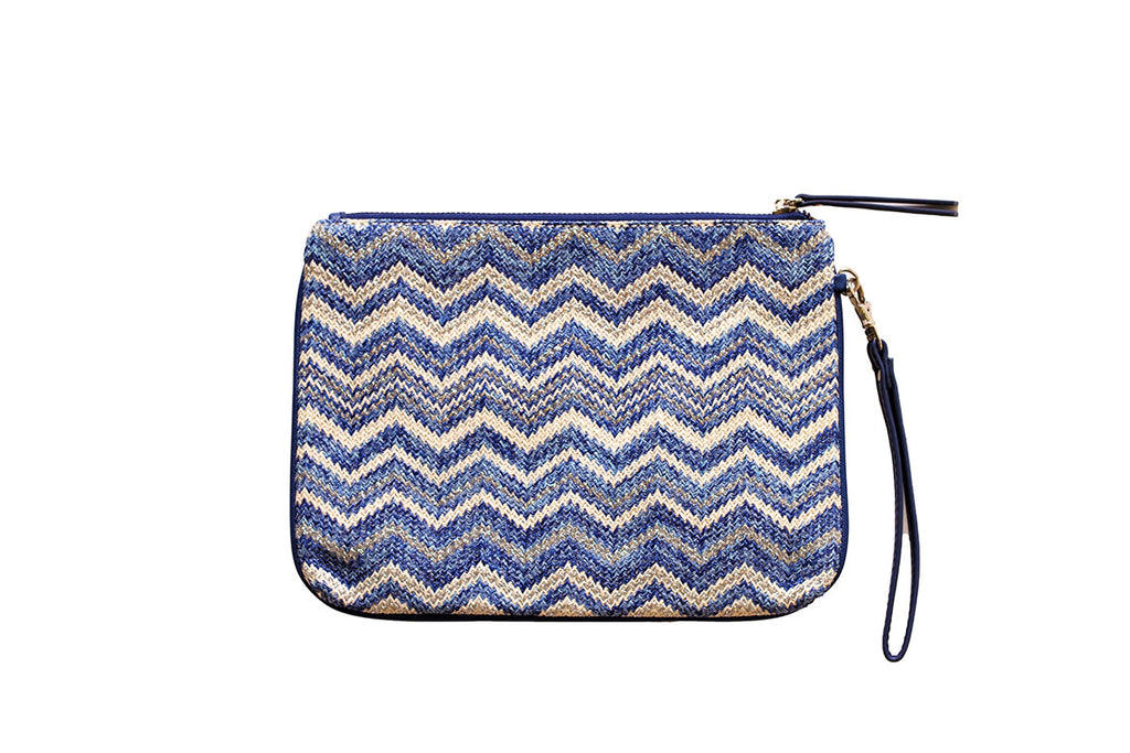 Pouch with zigzag design and faux-leather wrist strap