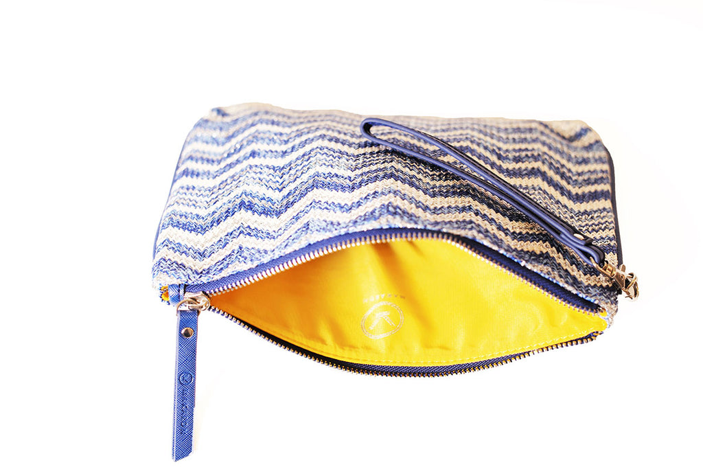 blue cosmetic bag with yellow lining by Makaron