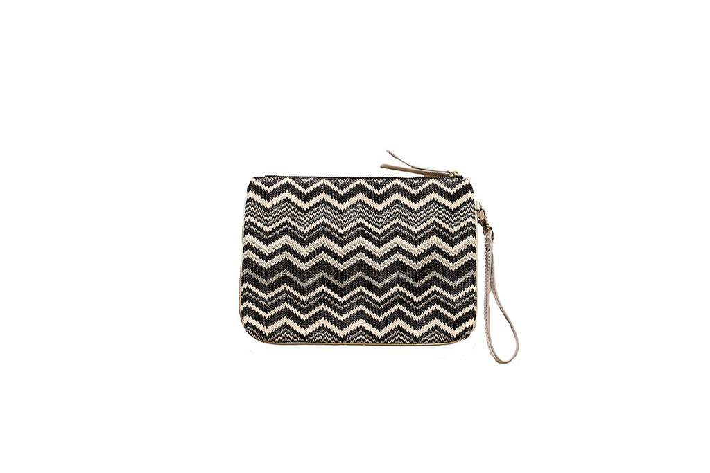 Black zigzag pouch with silver wrist strap
