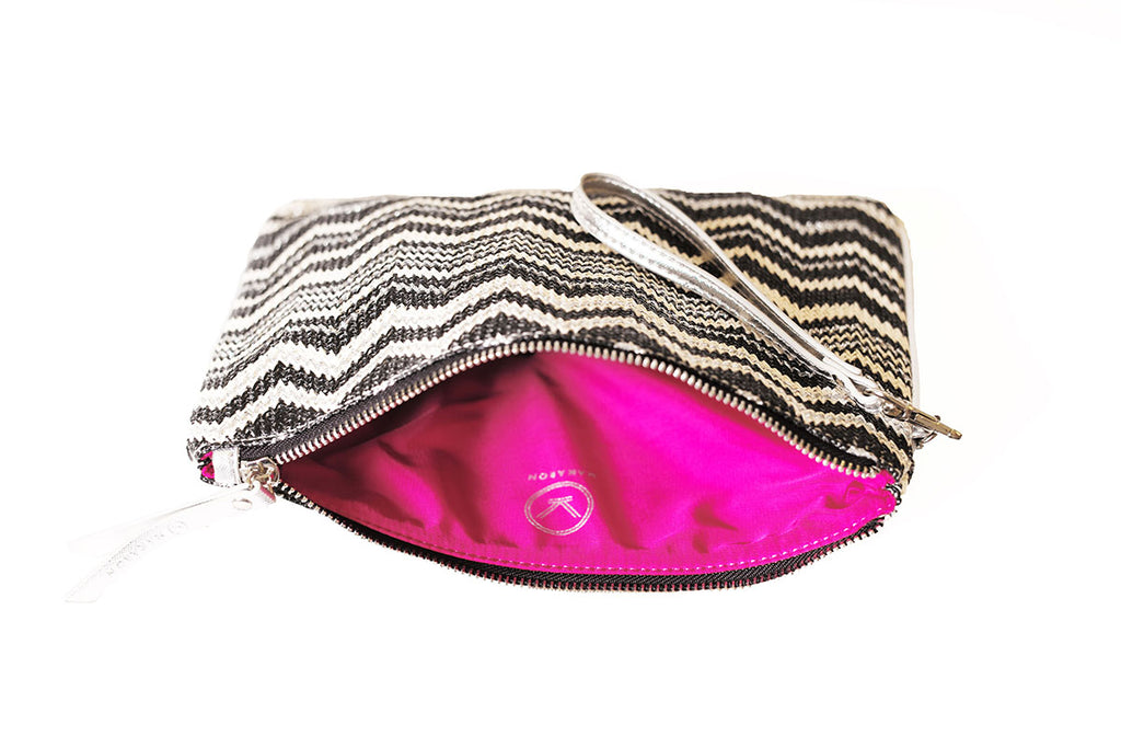 black nylon pouch with pink lining