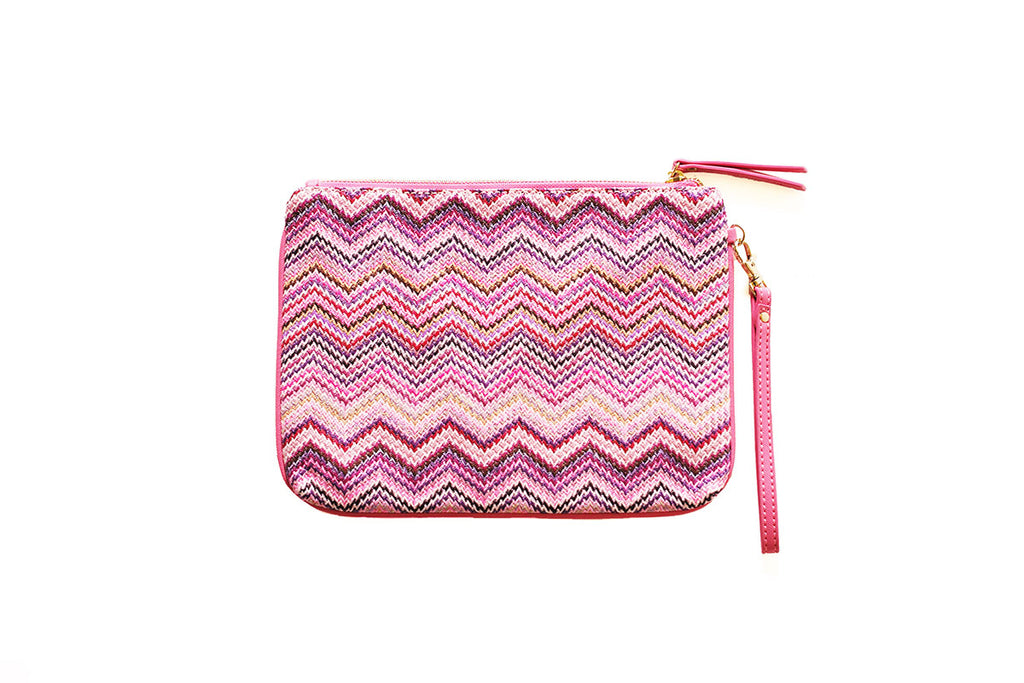 Pink pouch with zigzag design and faux-leather wrist strap