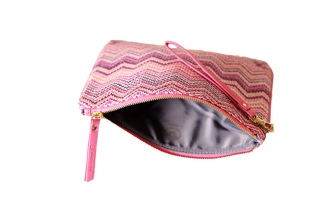 Pink pouch with grey lining by Makaron