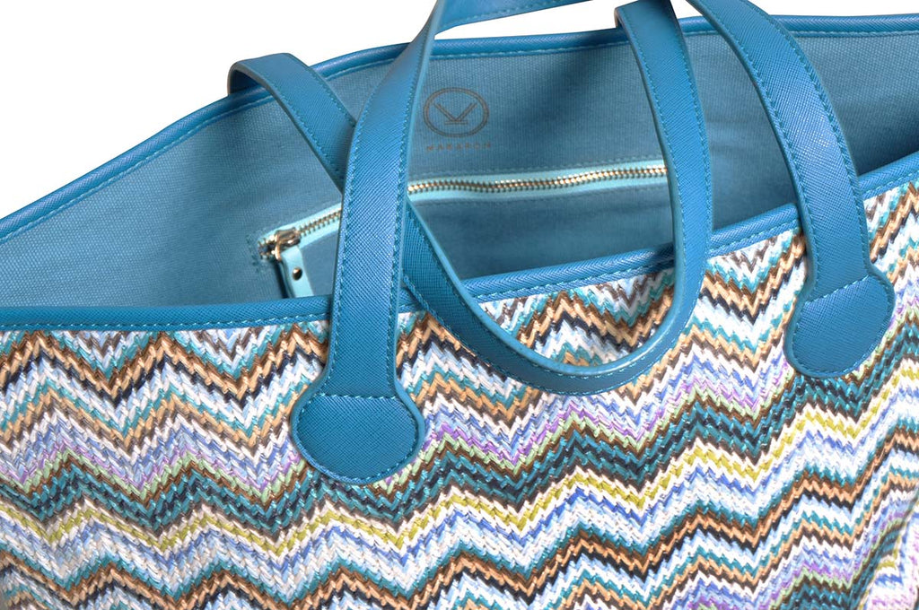 shoulder tote bag with blue canvas lining
