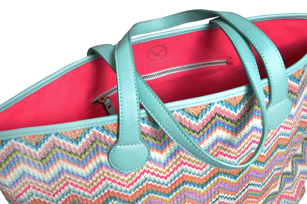 shoulder tote bag with green and pink zigzag and canvas pink lining
