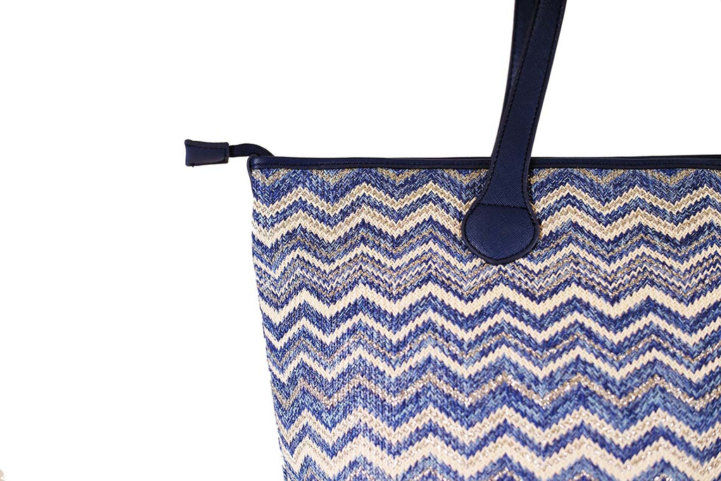 blue and silver tote with zipper
