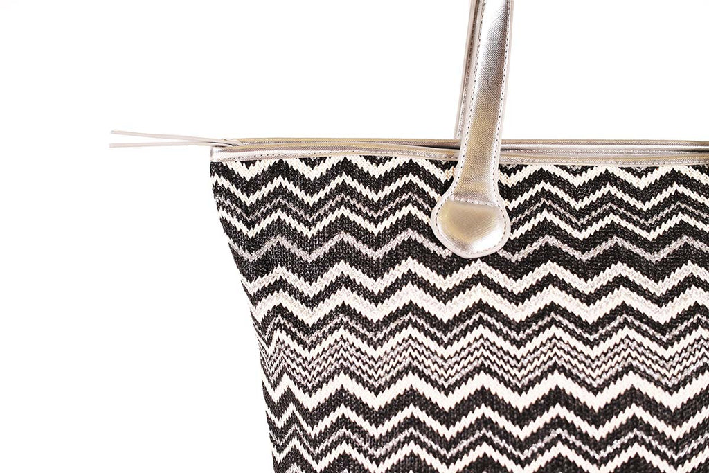 shoulder tote bag with silver shoulder straps