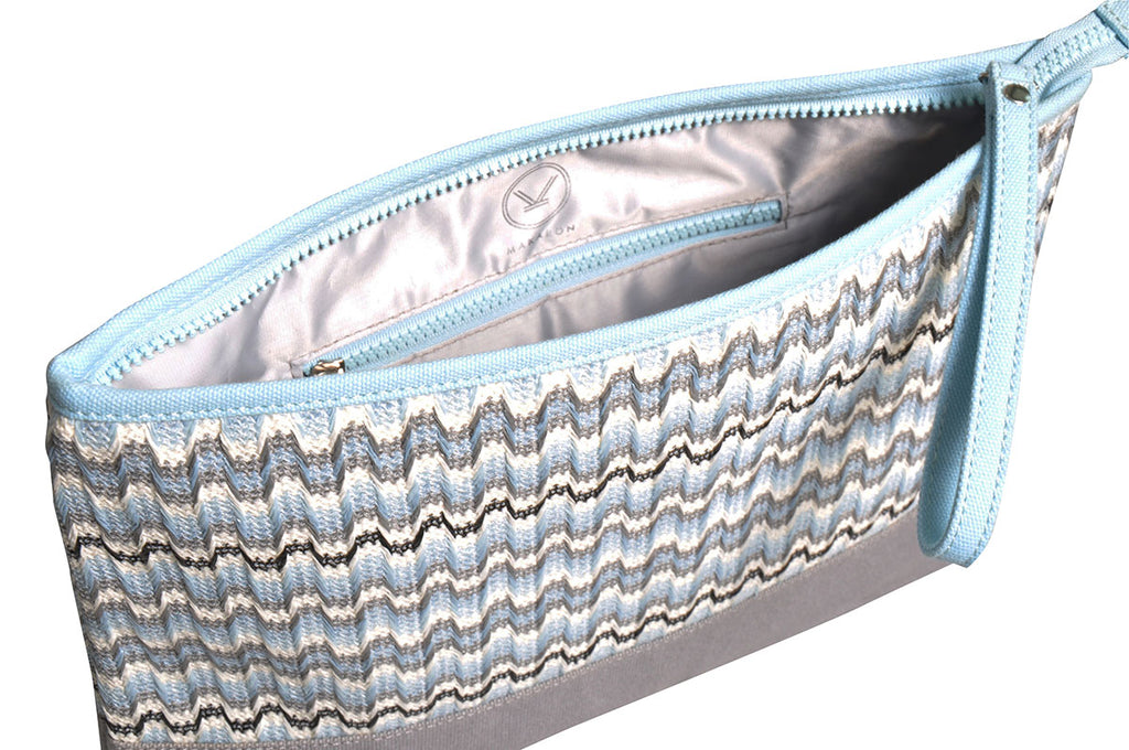 grey and light blue cosmetic travel pouch with grey lining