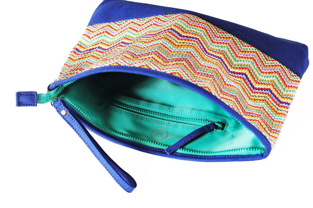 cosmetic travel bag with green poly lining