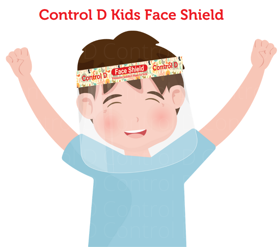 Control D Kids Face Shield Isolation Mask for Eyes Nose Face 3 Face Shields Safety Visor