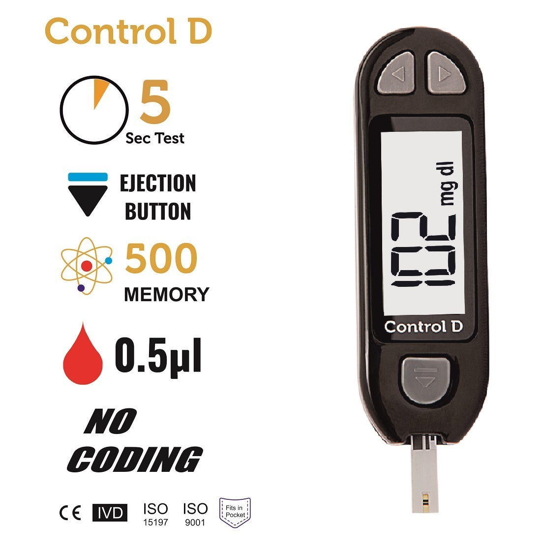 Control D Glucometer with 10 Strips + Free Bamboo Socks