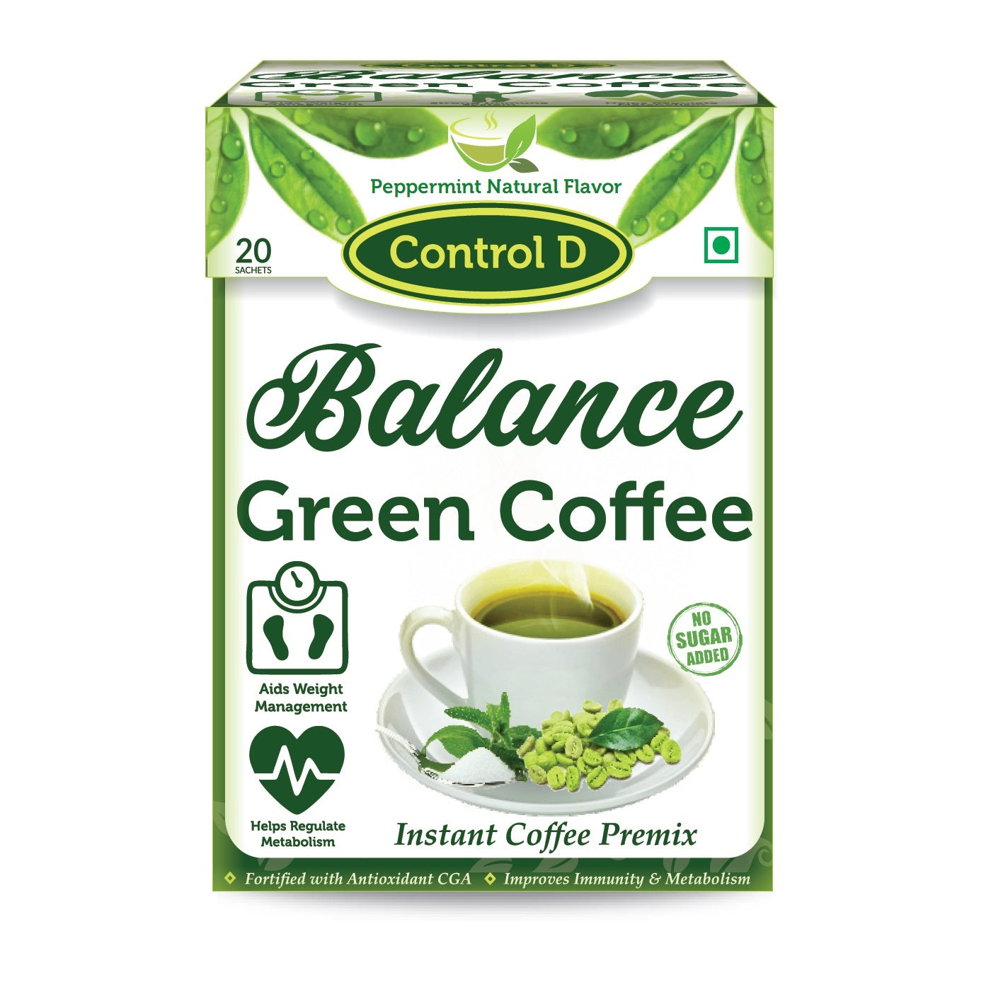 Control D Balance 20 Peppermint Natural Flavor Green Coffee Instant Sachets Instant Coffee  (20 g, Green Coffee Flavoured)