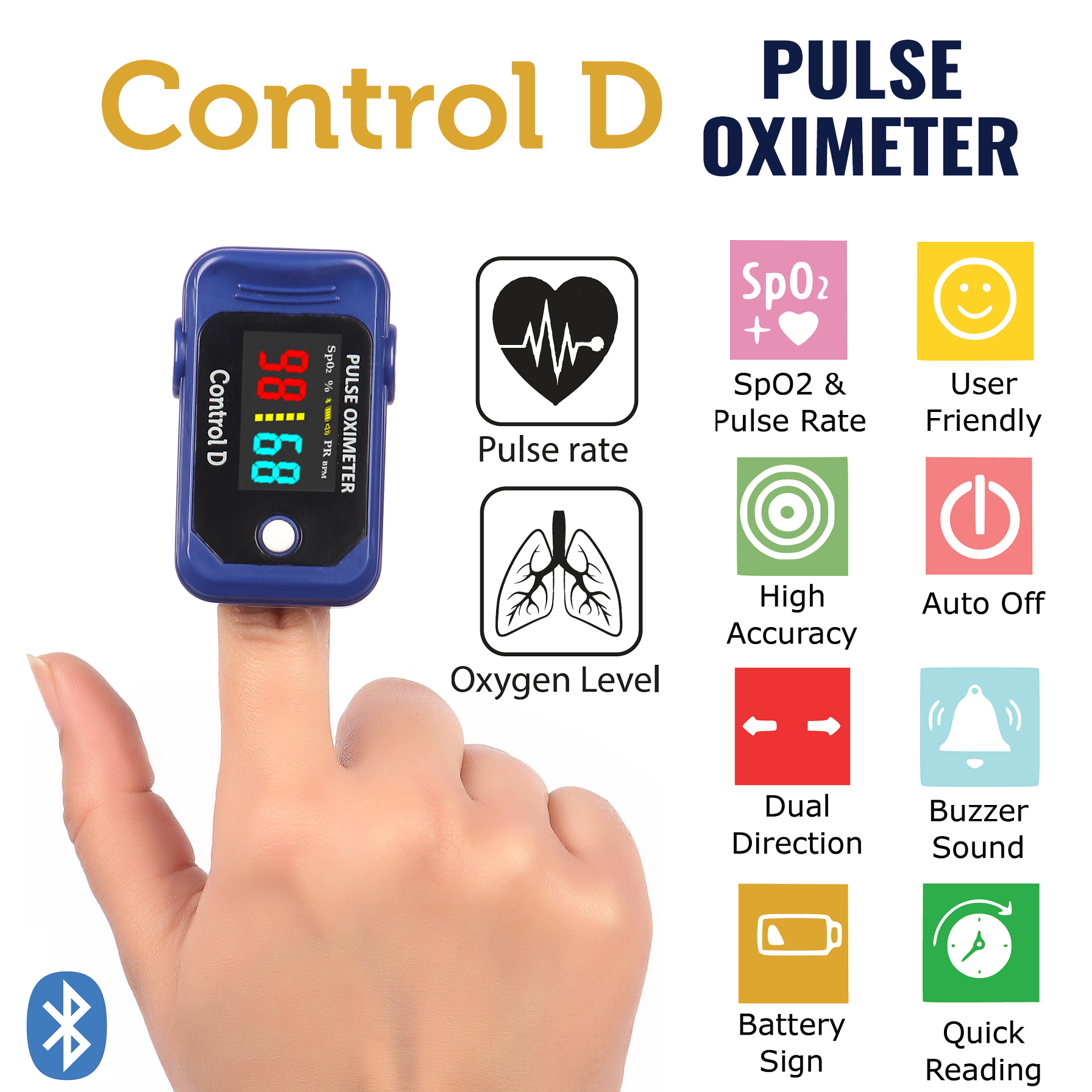 Control D Protection Kit - Bluetooth Pulse Oximeter, Thermometer, Sanitizer Wipes & Mask (Made in India)