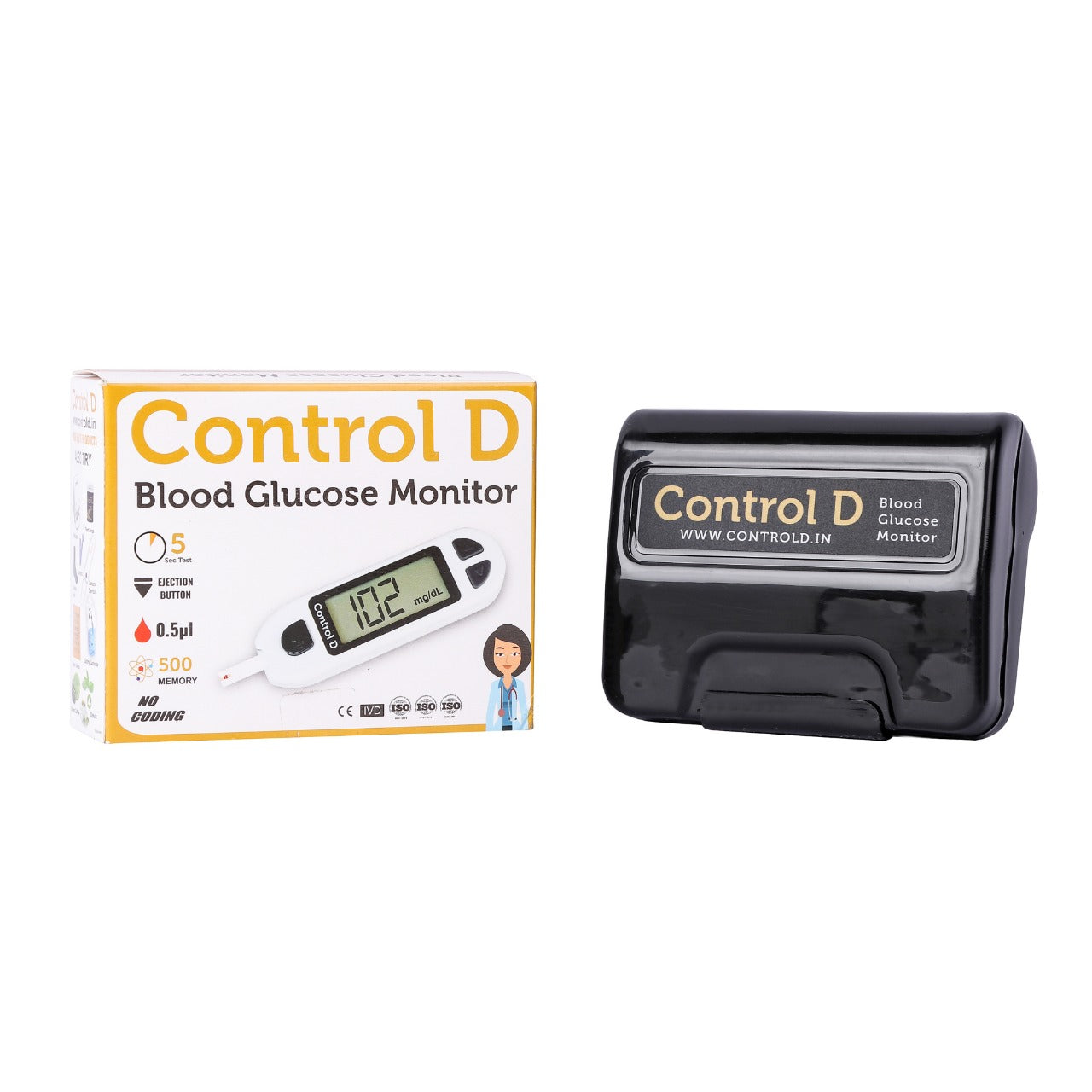 Control D White Meter Kit with 10 Strips, Lancets & Swabs