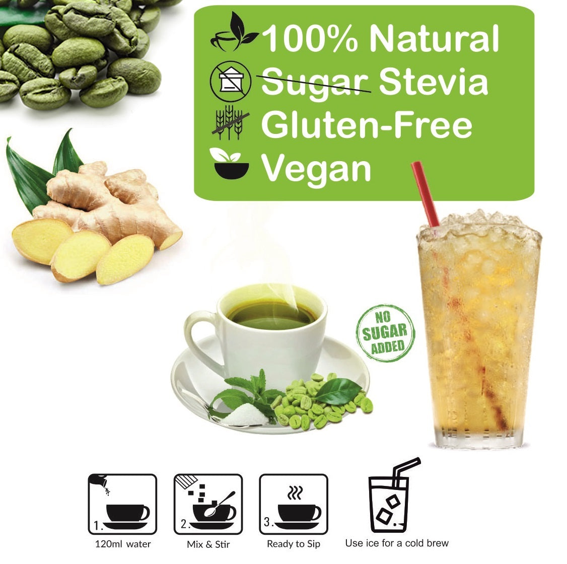 Control D Balance 20 Ginger Adhrak Natural Flavor Green Coffee Instant Sachets Instant Coffee  (20 g, Ginger Flavoured)