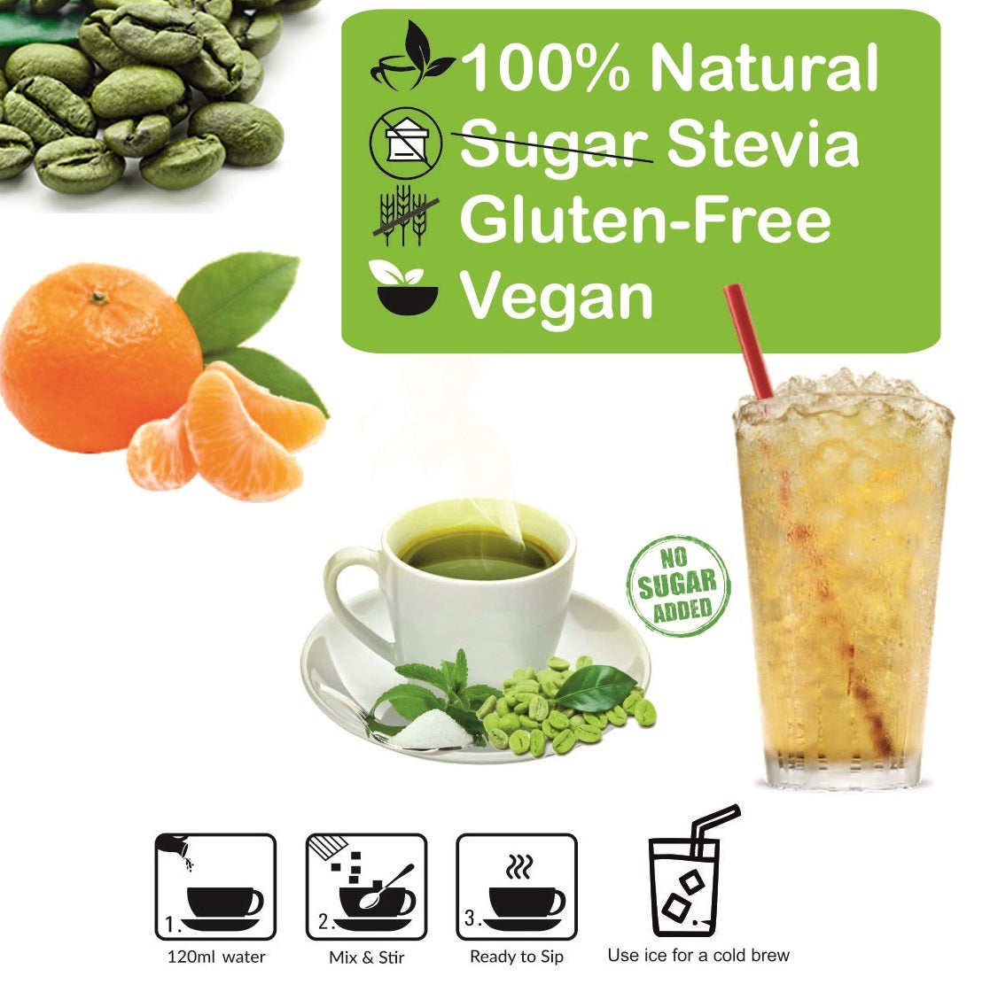 Control D Balance 20 Orange Natural Flavor Green Coffee Instant Sachets Instant Coffee  (20 g, Orange Flavoured)