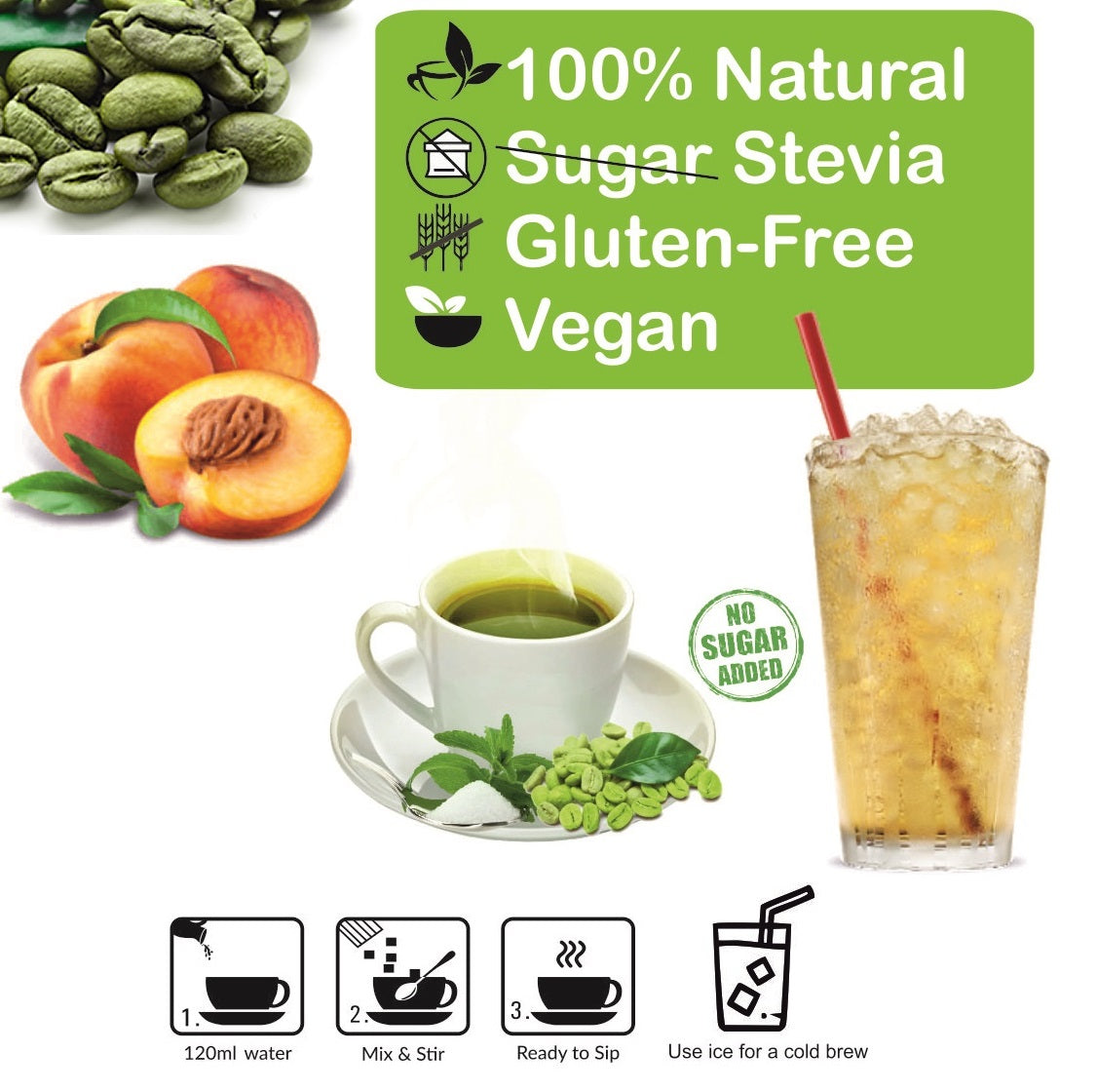 Control D Balance 20 Peach Natural Flavor Green Coffee Instant Sachets Instant Coffee  (20 g, Green Coffee Flavoured)