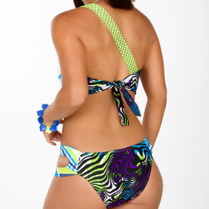 One Shoulder Bikini Green